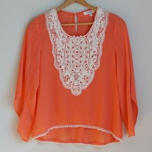 Umgee Coral Flowy Top with White Lace Detail